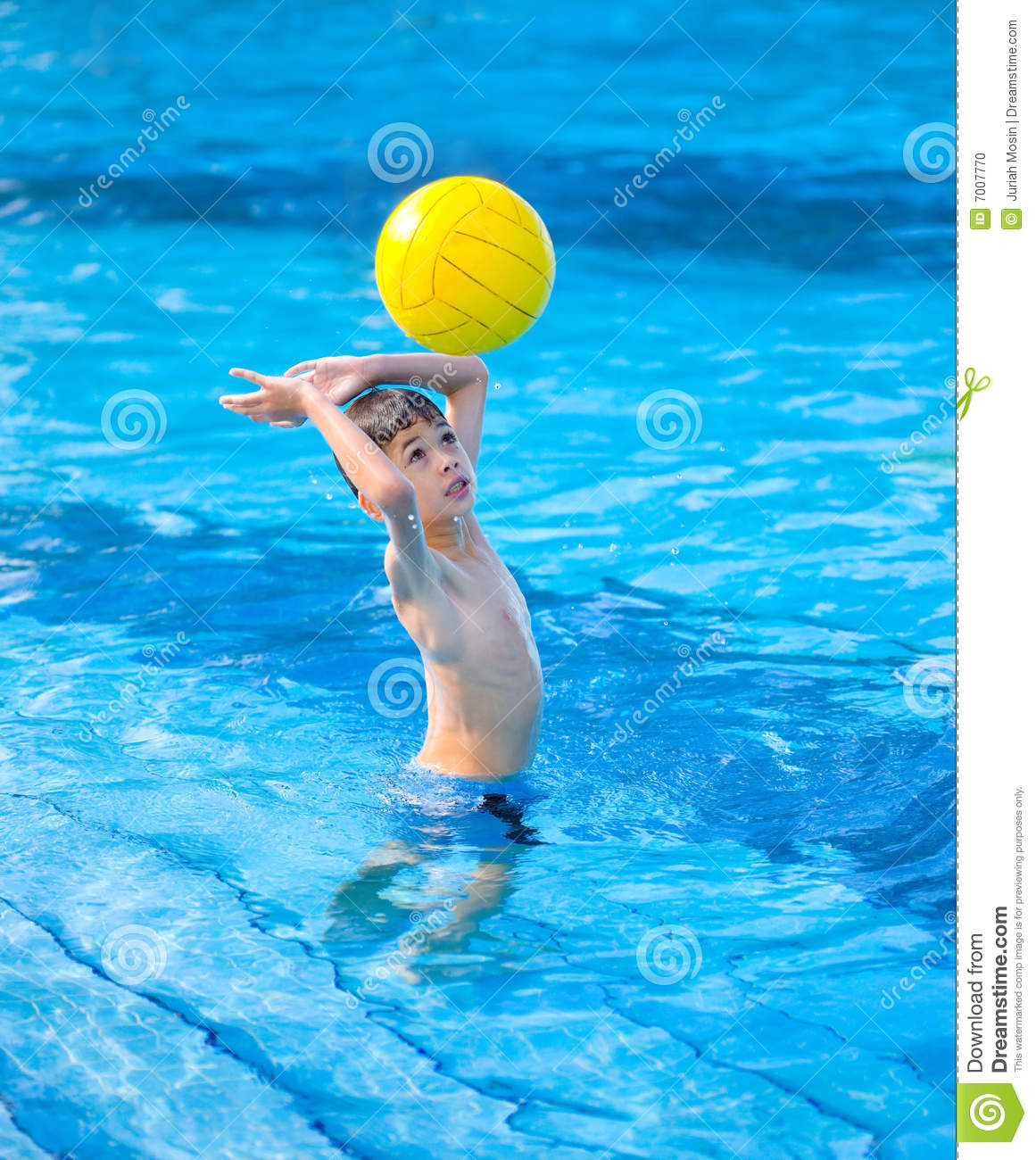 Images of young boy taking a break from swimming