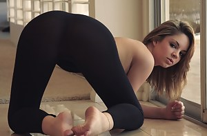 Topless chicks in yoga pants